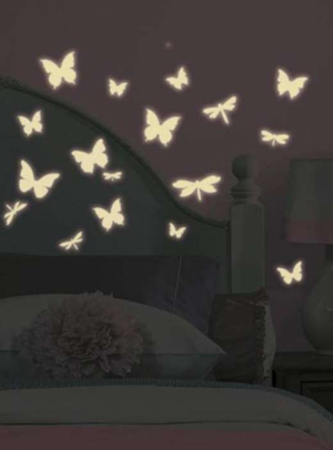 Sticker chambre enfant Papillon Phosphorescent