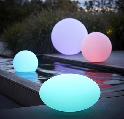 Luminaire design extérieur Galets LED changement de couleurs