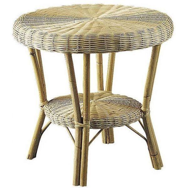 mobilier véranda table d'appoint en rotin