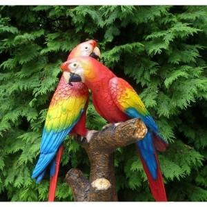 Couple-perroquets-résine-extérieur